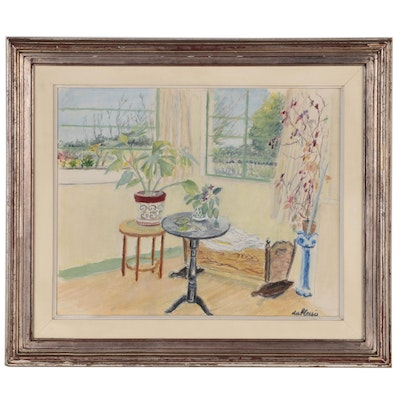 """Enslin du Plessis Oil Painting """"Sunporch"""", Mid to Late 20th Century"""