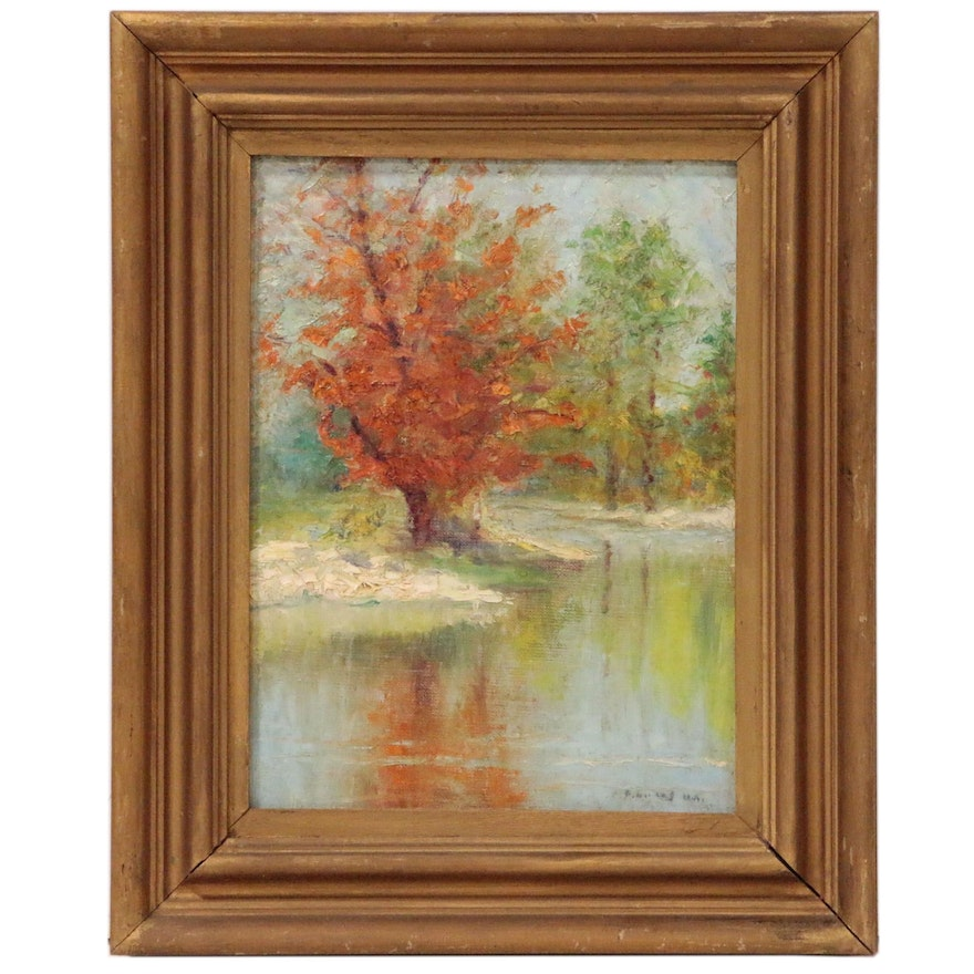 """Albert P. Lucas Oil Painting """"October"""", Early to Mid-20th Century"""