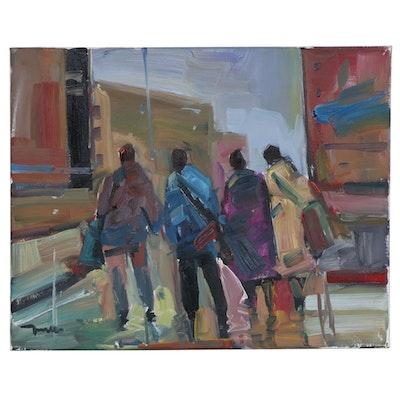 "Jose Trujillo Oil Painting ""Falling in Line"", 2020"