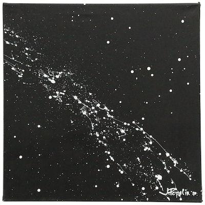 "J. Popolin Abstract Acrylic Painting ""Galaxy"", 2020"