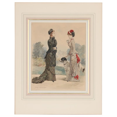 Jules David Watercolor and Gouache Illustration of Conversing Women, 1880