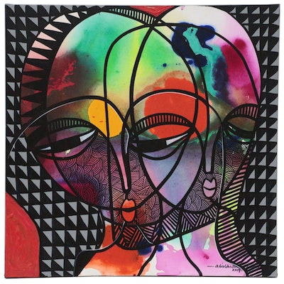 "Abiola Idowu Mixed Media Abstract Portrait Painting ""Between Lines"""