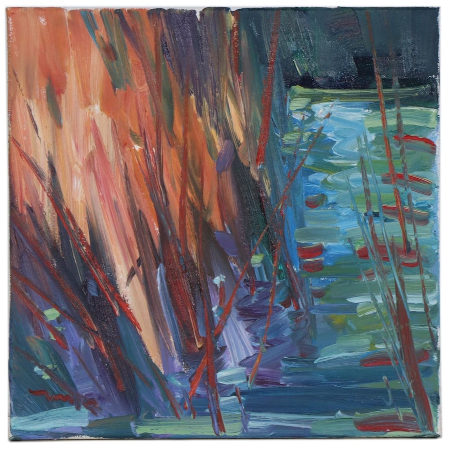 "Jose Trujillo Oil Painting ""Cattails"", 2020"