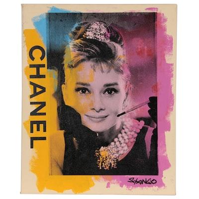 John Stango Pop Art Mixed Media Painting with Audrey Hepburn