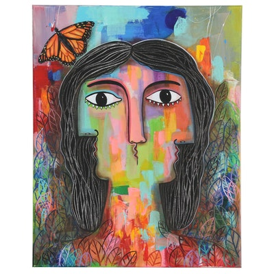"Michel Blazquez Abstract Portrait Acrylic Painting ""The Hope"""