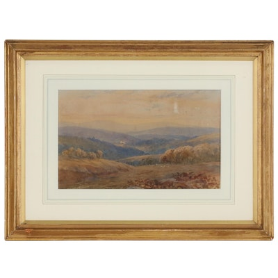 Watercolor Landscape Painting Attributed to Alfred East, Late 19th Century