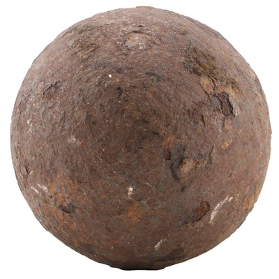 Revolutionary War Era Cast Iron Solid-Shot Cannonball, Late 18th Century