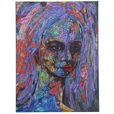 "Abiola Idowu Abstract Portrait Mixed Media Painting ""Kryptonite"""