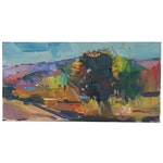 "Jose Trujillo Landscape Oil Painting ""Green Canyon"", 2020"