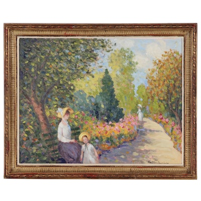 Ron Lee Van Sweringen Impressionist Style Oil Painting, Late 20th Century