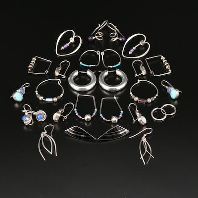 Sterling Silver Earrings Selection Featuring Gemstone and Glass Accents