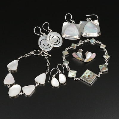 Sterling Silver Assorted Jewelry Featuring Abalone and Mother of Pearl