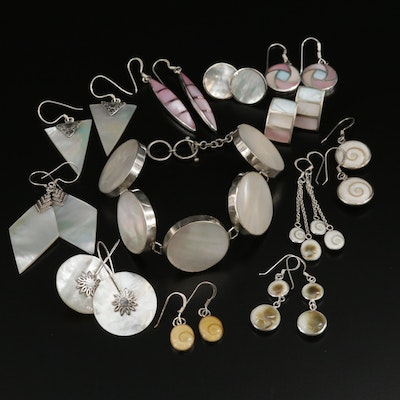 Sterling Silver Earrings and Bracelet With Mother of Pearl and Shell Accent