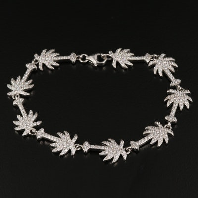 Sterling Silver and Cubic Zirconia Palm Tree Motif Bracelet