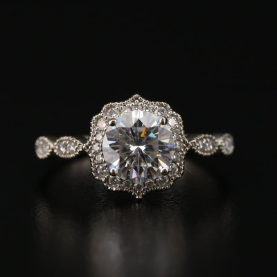14K White Gold Moissanite and Diamond Ring