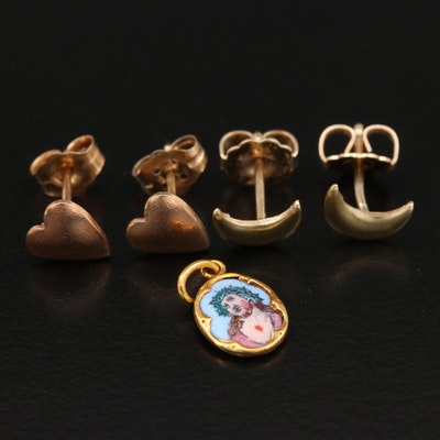 14K Yellow Gold Crescent Moon and Heart Stud Earrings with 10K Jesus Charm