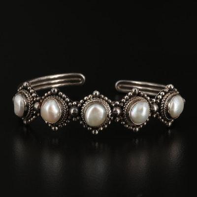 Sterling Silver Pearl Cuff Bracelet