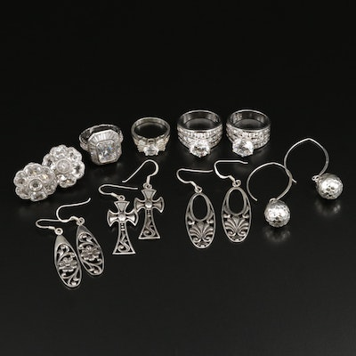 Assorted Sterling Silver Cubic Zirconia Rings and Sterling Earrings