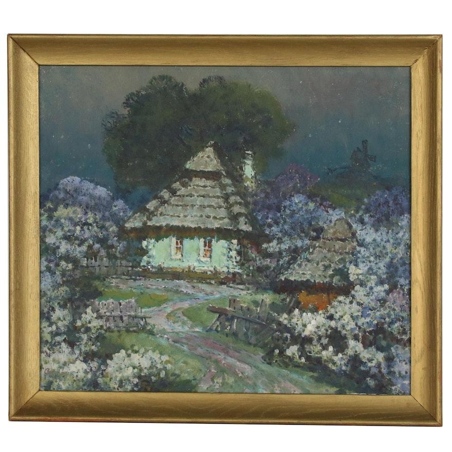 Vladimir Sidoruk Spring Cottage Landscape Oil Painting, Mid-Late 20th Century