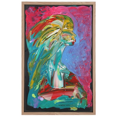 "Abiola Idowu Abstract Figural Mixed Media Painting ""Adetutu"""
