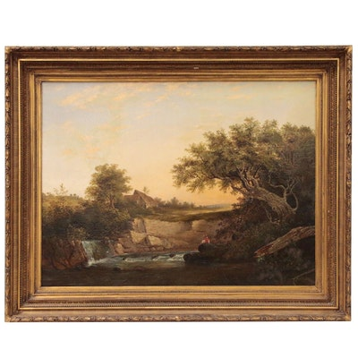 Hudson River Style Landscape Oil Painting in the Manner of Ambrose Andrews