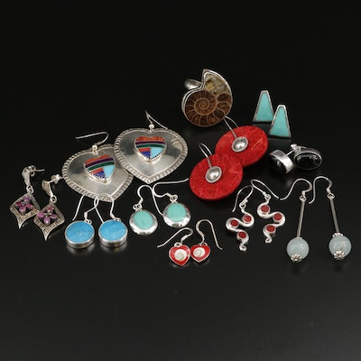 Sterling Silver Earring Assortment Including a Chambered Nautilus Ring