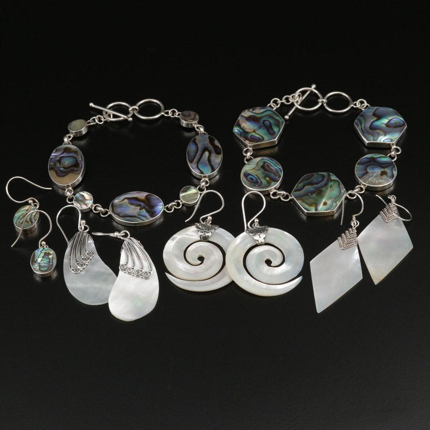 Sterling Silver Bracelets and Earrings Featuring Mother of Pearl and Abalone