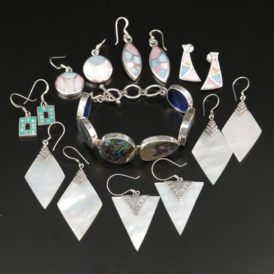 Sterling Silver Jewelry Selection Featuring Abalone, Mother of Pearl, and Resin