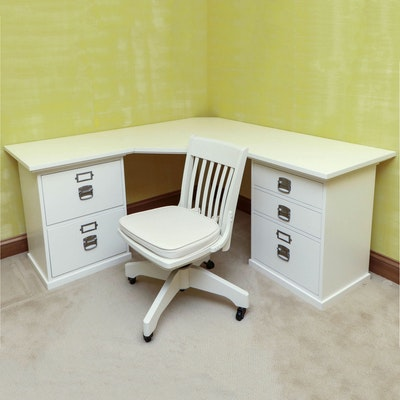 "Pottery Barn ""Bedford"" Corner Desk with Swivel Chair"