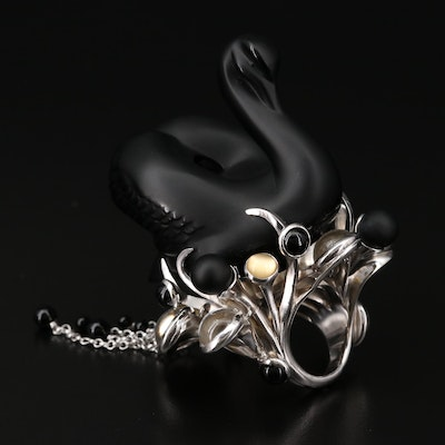Lalique Sterling Silver Black Glass Swan Ring