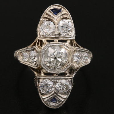Art Deco 18K Gold 1.71 CT Diamond and Synthetic Sapphire Ring