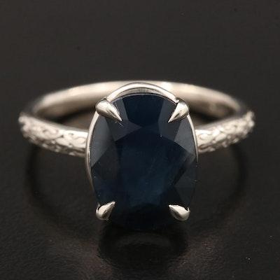 14K White Gold Blue Sapphire Ring