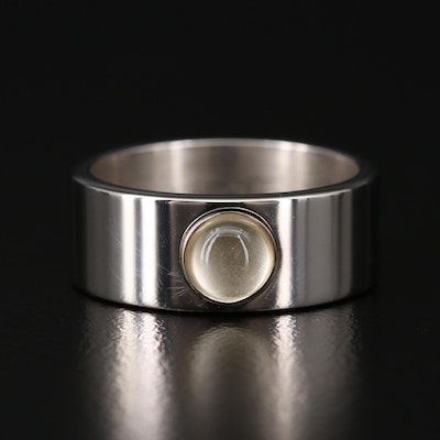 Lalique Sterling Silver Crystal Ring
