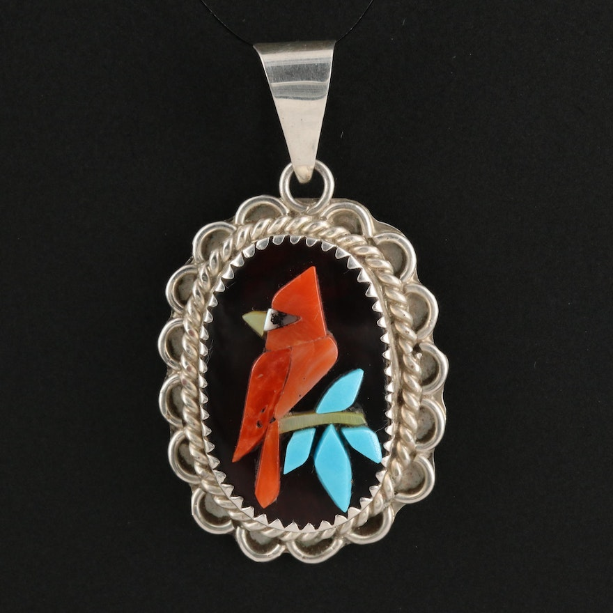 Zuni Sterling Silver Coral, Turquoise and Black Onyx Cardinal Pendant
