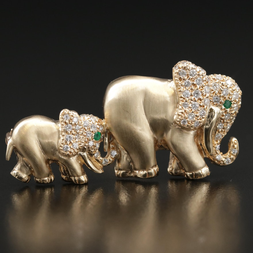 14K Yellow Gold Diamond and Emerald Elephant Brooch