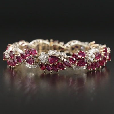 14K Yellow Gold 25.00 CTW Ruby and 2.50 CTW Diamond Bracelet