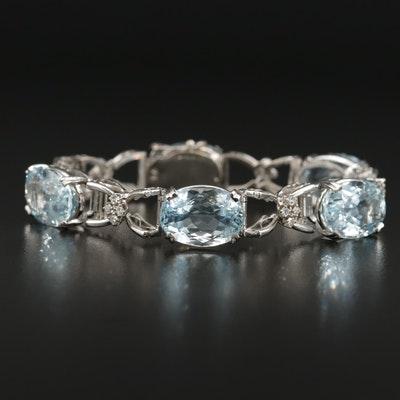 18K Gold 55.00 CTW Aquamarine and Diamond Link Bracelet