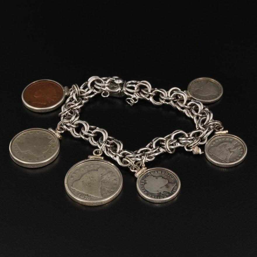 Sterling Silver Antique Coin Charm Bracelet Including 1910 Barber Silver Dime