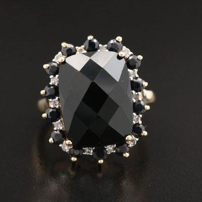 10K Yellow Gold Black Onyx, Black Spinel and Diamond Ring