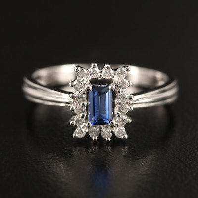 18K White Gold Synthetic Sapphire and Cubic Zirconia Ring