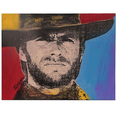 John Stango Pop Art Mixed Media Painting of Clint Eastwood