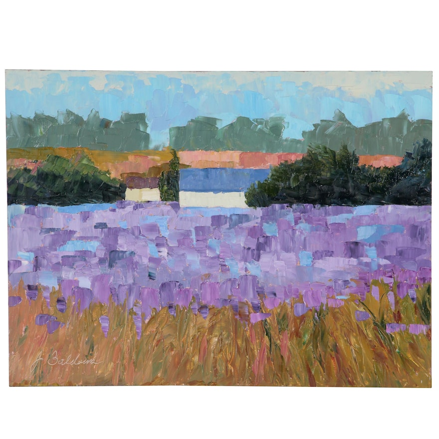 "James Baldoumas Landscape Oil Painting ""Lavender Fields"""