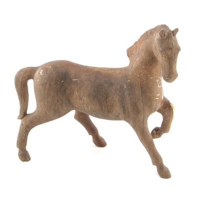 Carved Hardwood Folk Art Horse Sculpture