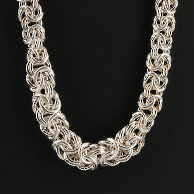 Sterling Silver Flat Byzantine Chain Necklace