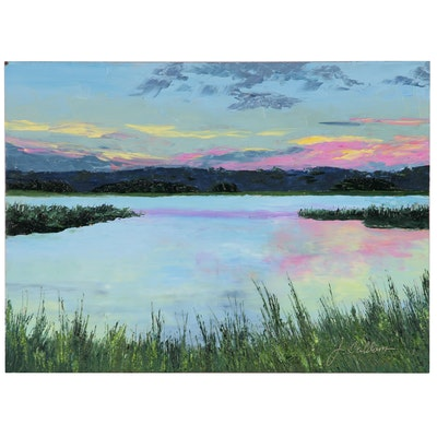 "James Baldoumas Landscape Oil Painting ""Placid Lake"""