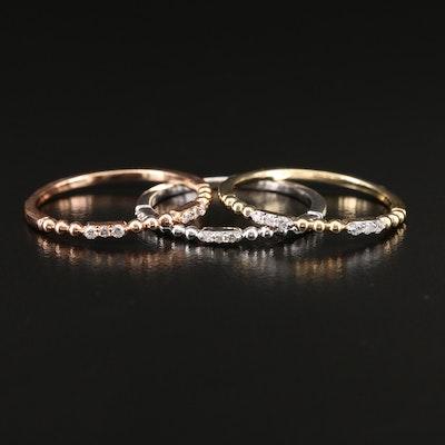 10K Tri-Color Gold Diamond Stack Ring