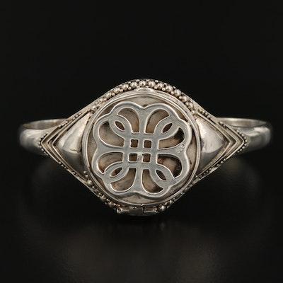 Sterling Silver Celtic Endless Knot Motif Poison Cuff Bracelet