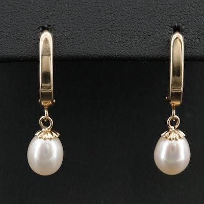 14K Gold Pearl Drop Earrings