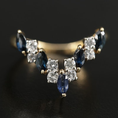 18K Gold Sapphire and Diamond Chevron Ring