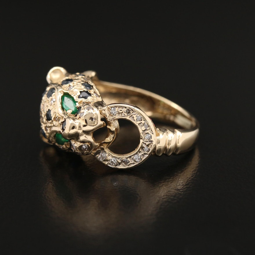 14K Sapphire, Emerald and Diamond Panther Ring